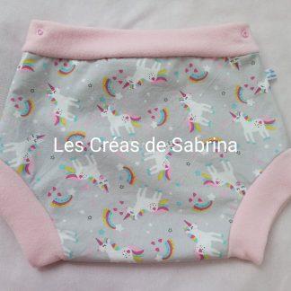 shorty imperméable licorne rainbow