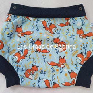 shorty imperméable petits renards bleu